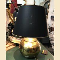 Paralume a tronco di cono in seta nera e fondo oro a specchio